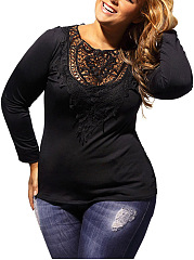 Decorative Lace Back Hole Hollow Out Plain Plus Size T-Shirt