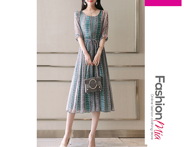 style:fashion, material:chiffon, collar&neckline:round neck, sleeve:half sleeve, embellishment:drawstring, pattern_type:printed, length:calf-length, how_to_wash:cold gentle machine wash, supplementary_matters:all dimensions are measured manually with a deviation of 2 to 4cm., occasion:date, season:spring,summer, dress_silhouette:empire line, package_included:dress*1, lengthshoulderbust