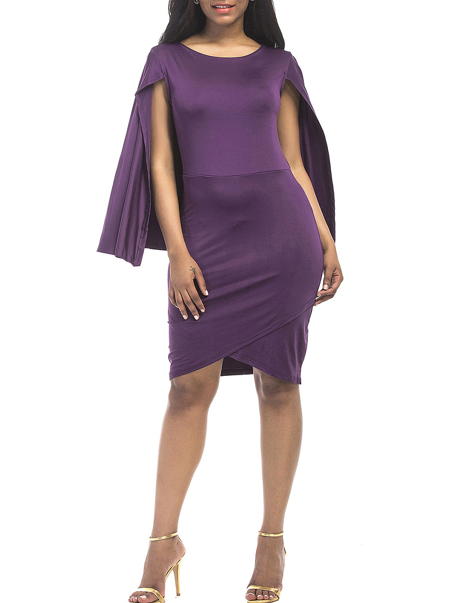 Solid Cape Sleeve Round Neck Bodycon Dress
