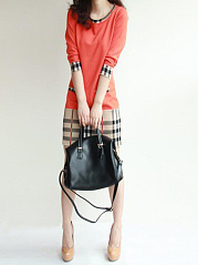 Round Neck  Patchwork  Plaid Shift Dress