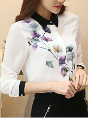 Fold Over Collar  Printed Blouses