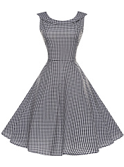 Black White Plaid Doll Collar Skater Dress
