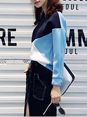 Round Neck  Patchwork  Color Block  Long Sleeve Sweatshirts