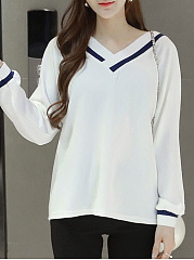 Autumn Spring  Cotton Blend  Women  V-Neck  Contrast Piping  Plain Long Sleeve T-Shirts