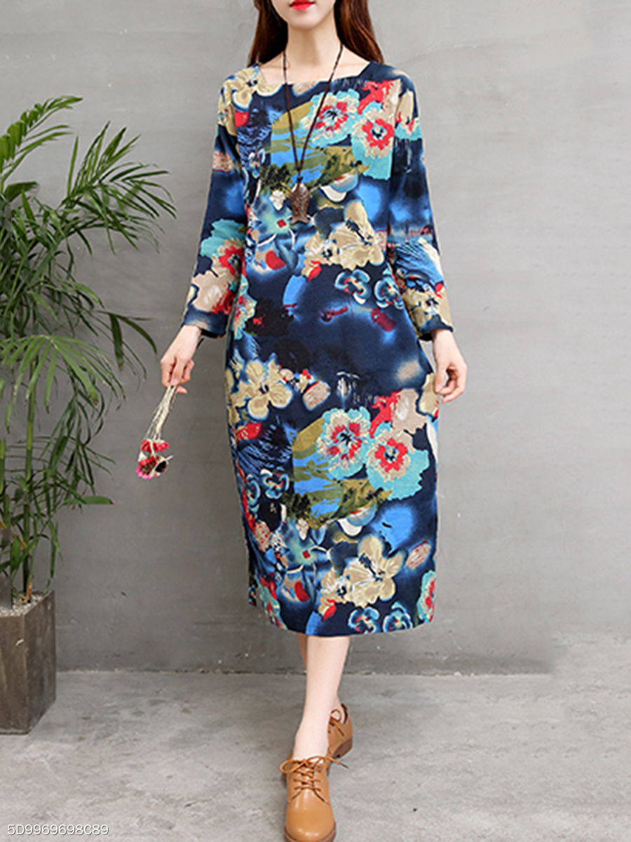 Round Neck Linen Casual  Printed Maxi Dress