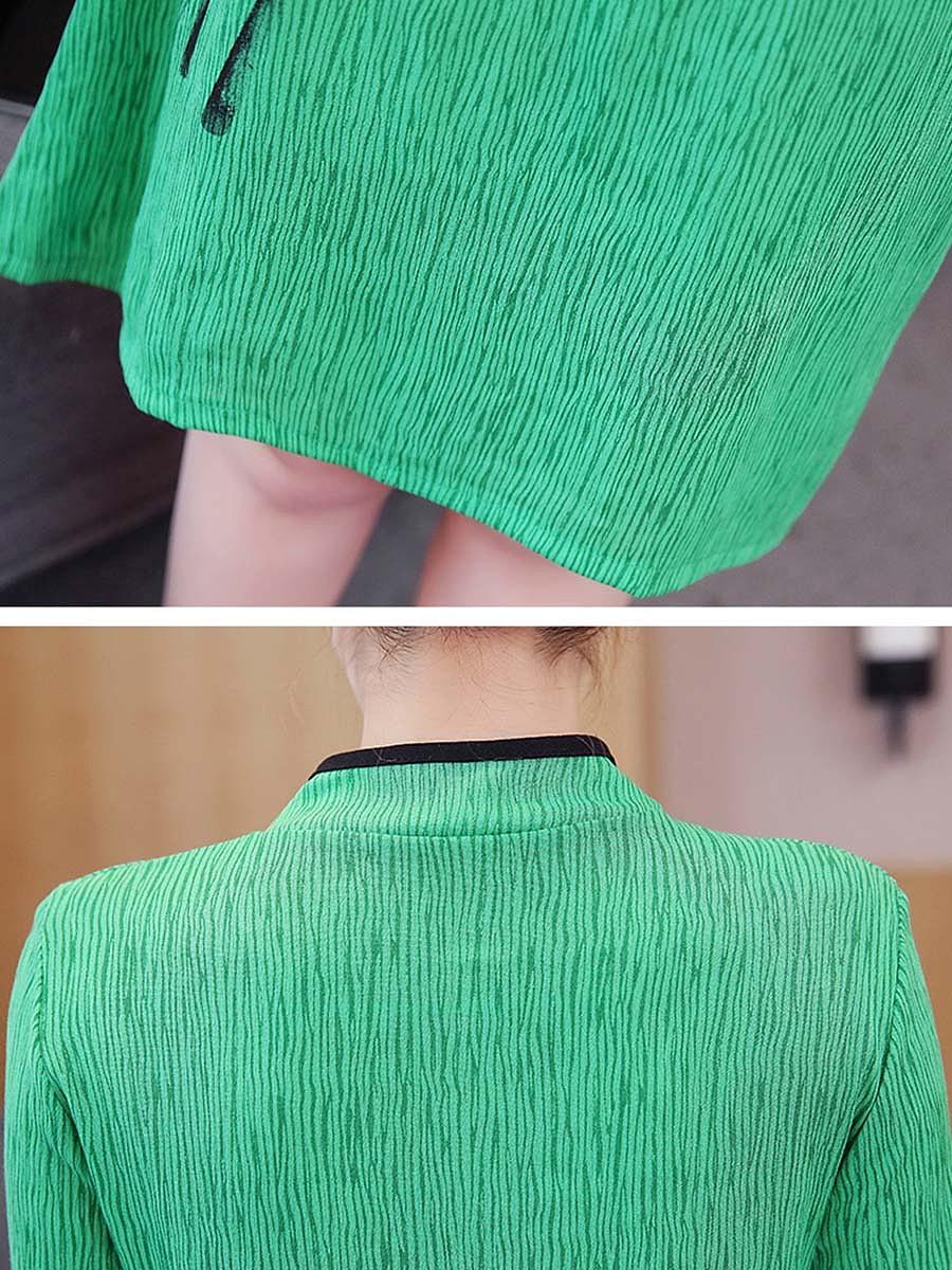 Band Collar Contrast Trim Bamboo Printed Skater Dress