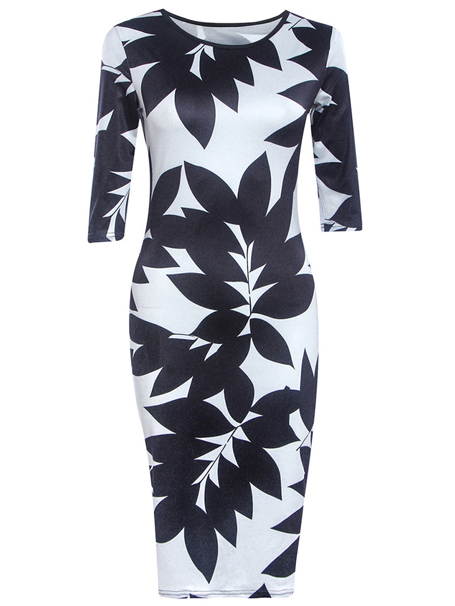Round Neck Color Block Leaf Printed Bodycon Dress