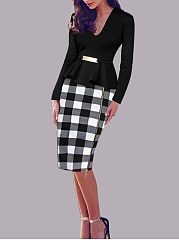 V-Neck  Plaid Bodycon Dress