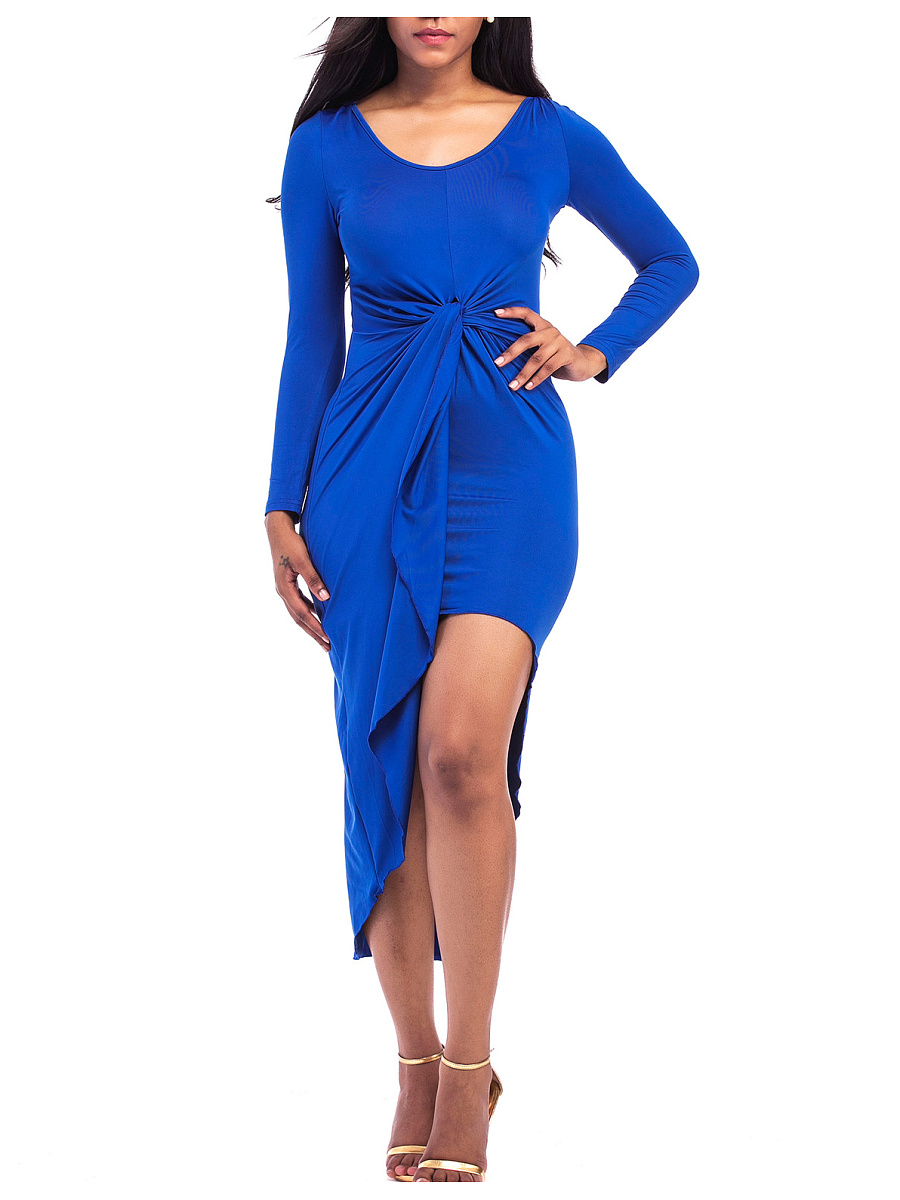 Round Neck  Asymmetric Hem Ruched  Plain Bodycon Dress