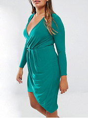 V-Neck  Ruched  Plain Plus Size Bodycon Dresses