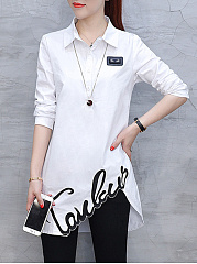 Autumn Spring  Polyester  Women  Fold-Over Collar  Asymmetric Hem  Letters  Long Sleeve Blouses