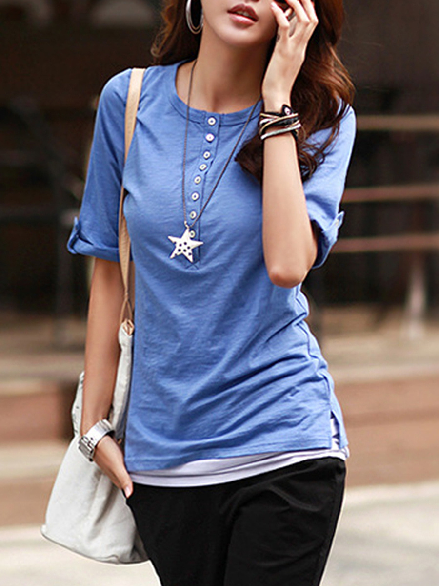 Henley Collar  Plain Short Sleeve T-Shirt
