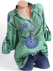 Autumn Spring  Polyester  Women  Band Collar  Decorative Button  Geometric  Long Sleeve Blouses