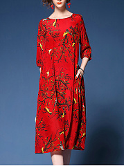 Courtly Round Neck Printed Pocket Maxi Dress