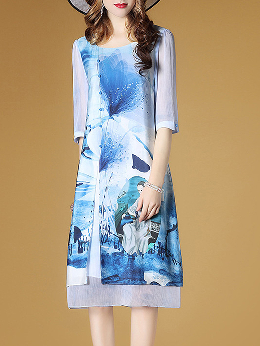 Round Neck  Printed  Chiffon Shift Dress