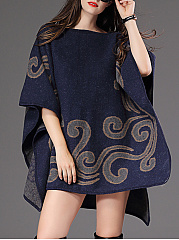 Round Neck  Ikat  Cape Sleeve Cape