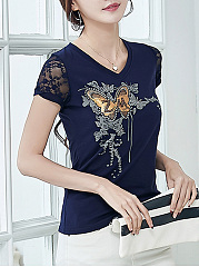 V-Neck Rhinestone Butterfly Printed Hollow Out Blouse