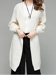 Collarless  Plain  Puff Sleeve  Long Sleeve Trench Coats