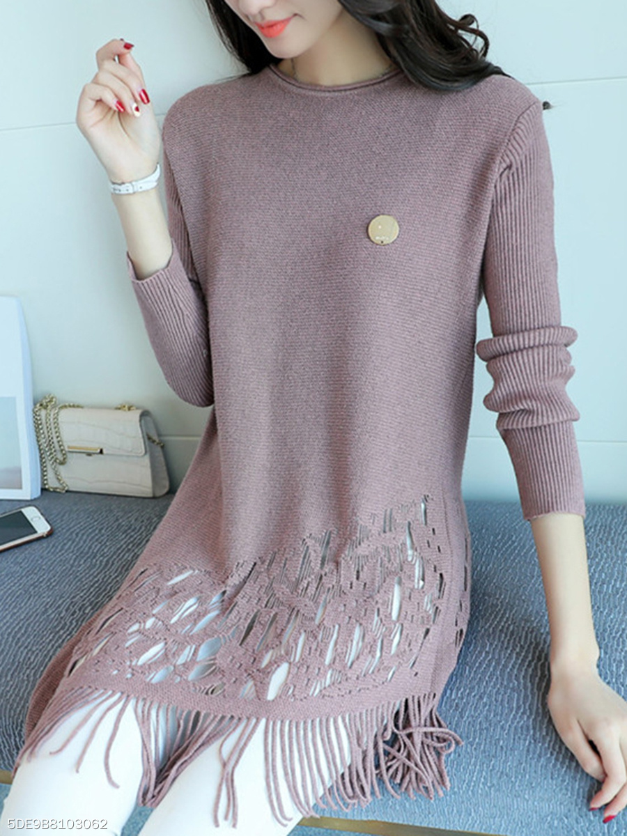 Fringe Hollow Out Plain Asymmetric Hem Longline Sweater