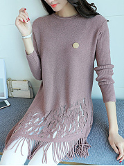 Fringe-Hollow-Out-Plain-Asymmetric-Hem-Longline-Sweater