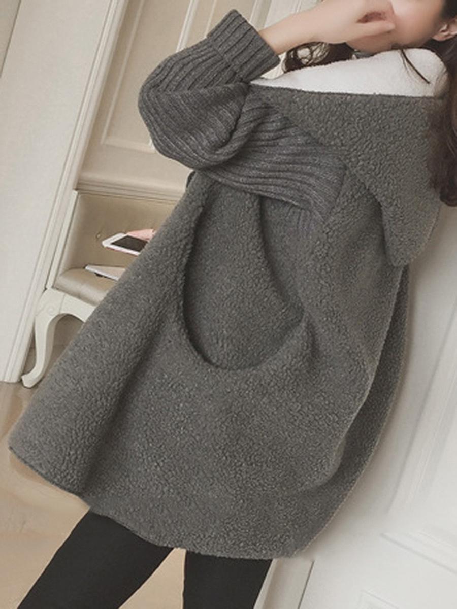 Hooded Pocket Faux Fur Coat