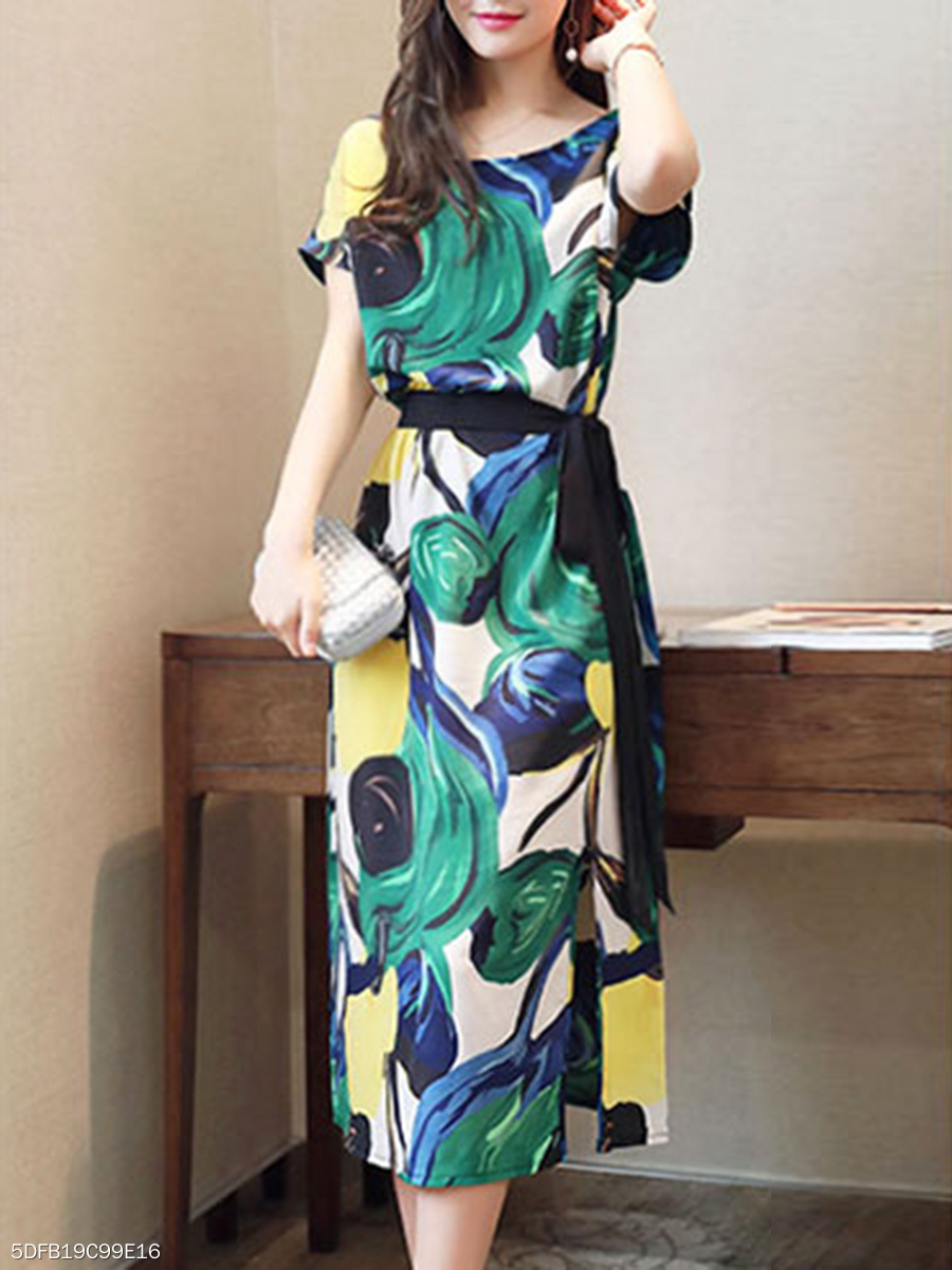 Round Neck  Belt  Abstract Print Maxi Dress