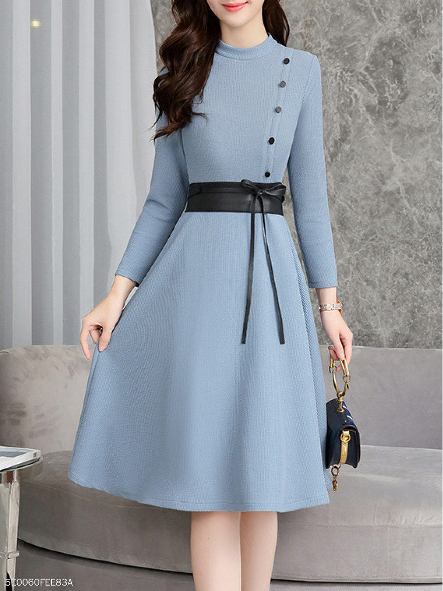 Round Neck  Belt Decorative Button  Plain Skater Dress
