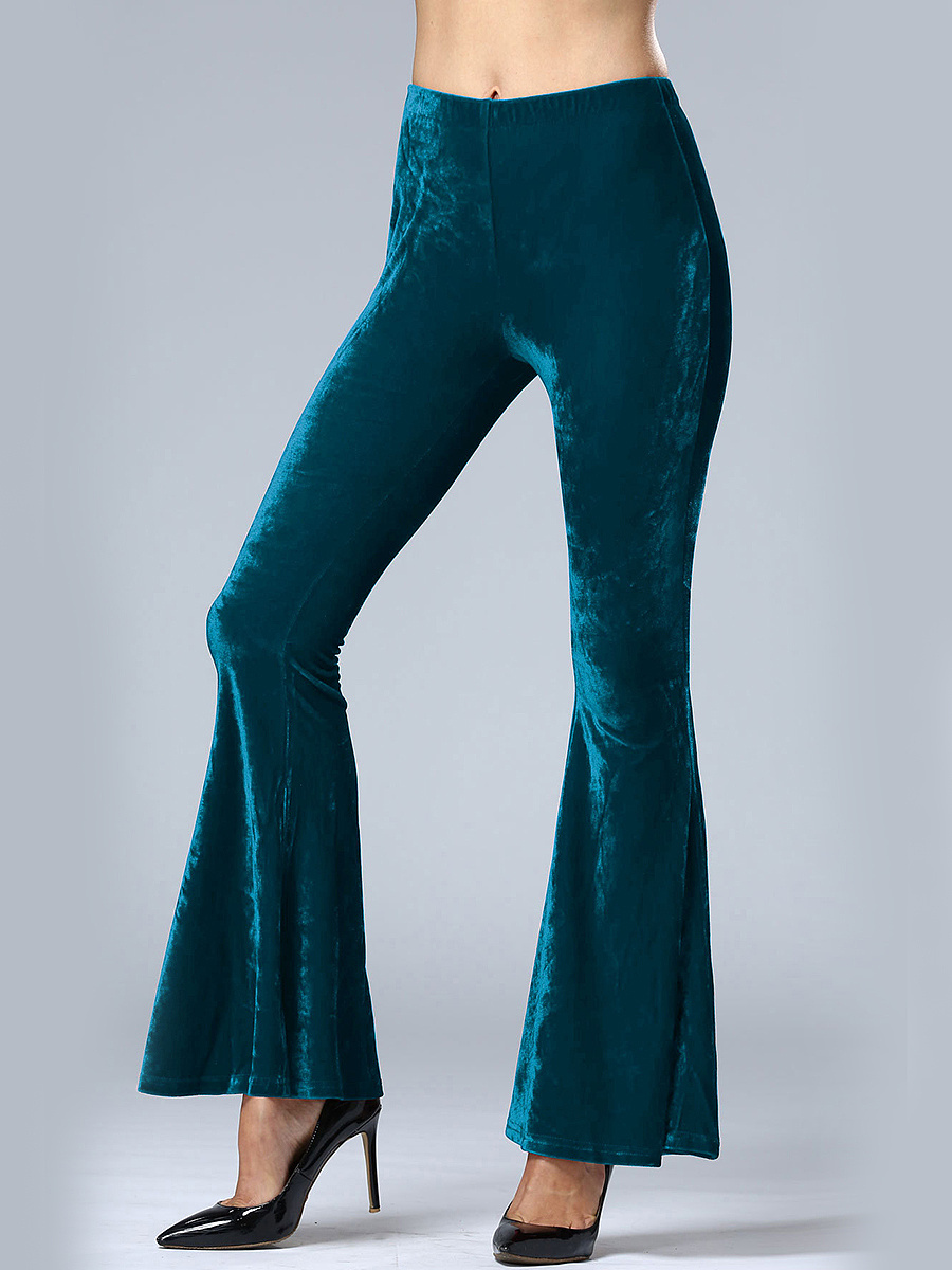 Plain Velvet Flared Casual Pants