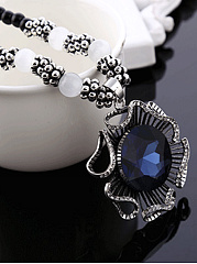 Hollow Out Imitated Crystal Flower Shape Bead Long Necklace