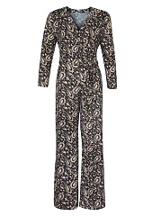 V-Neck Paisley Printed Wide-Leg Jumpsuit