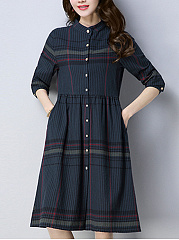 Band Collar  Printed  Cotton/Linen Shift Dress