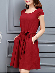 Round Neck  Drawstring  Plain Skater Dress