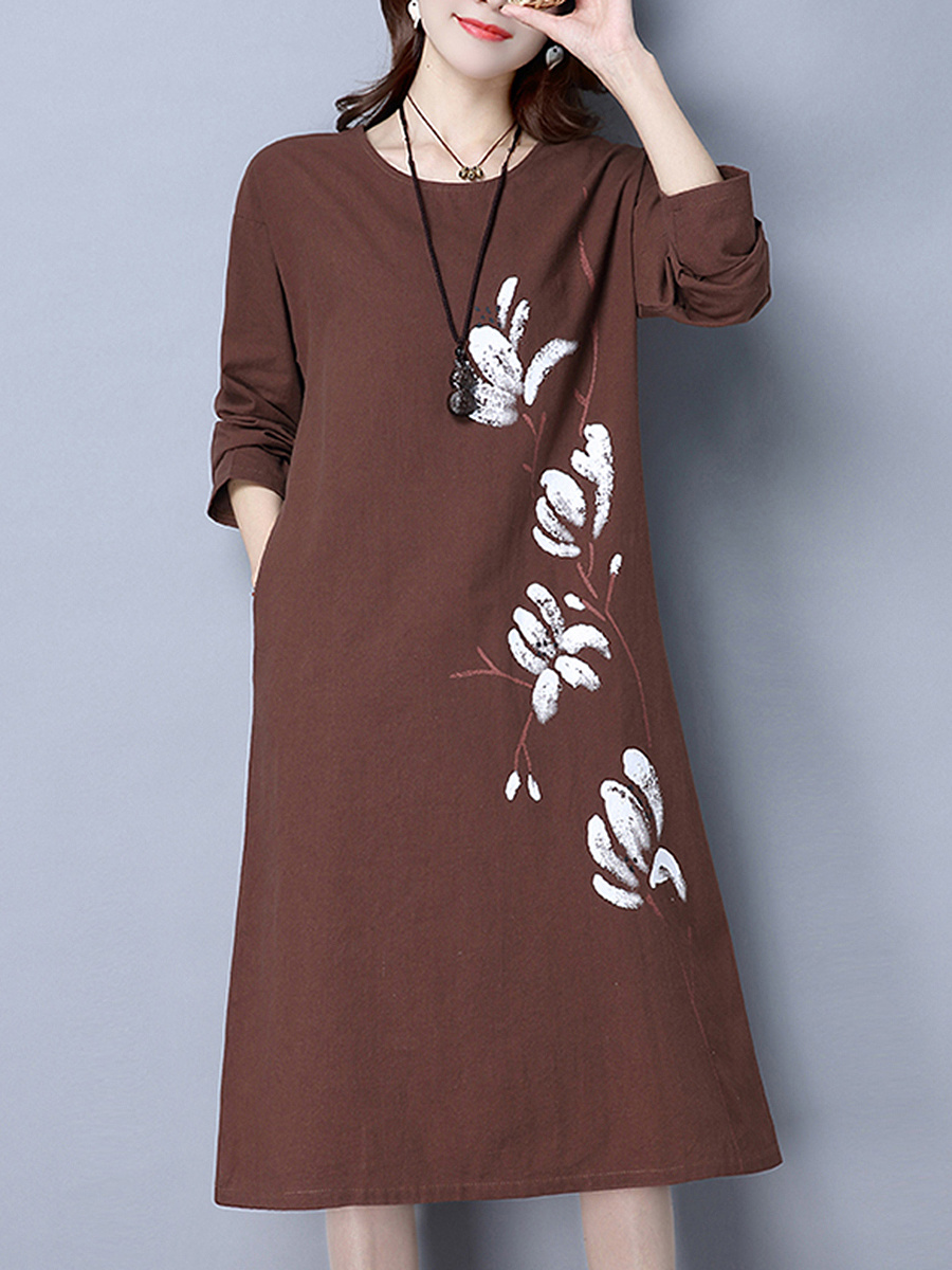 Casual Loose Printed Midi Shift Dress
