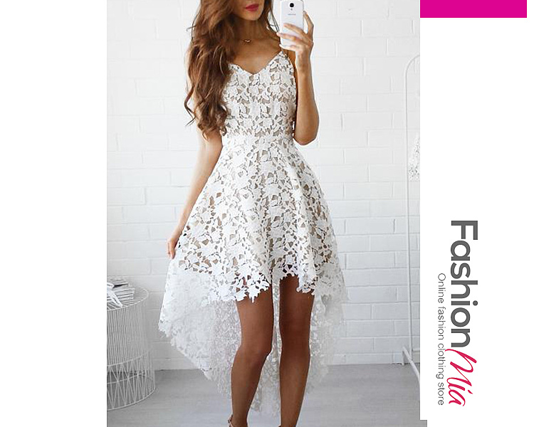 Spaghetti Strap  Asymmetric Hem  Lace Plain Skater Dress