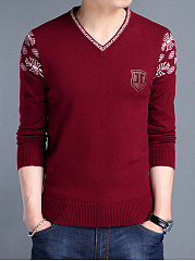 V-Neck Printed Men Long Sleeve Sweater