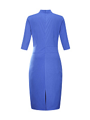 Fitted Designed Band Collar  Slit Pocket Solid Plus Size Bodycon Dress