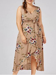 Deep V-Neck  Asymmetric Hem  Curved Hem  Floral Printed Plus Size Midi & Maxi Dress