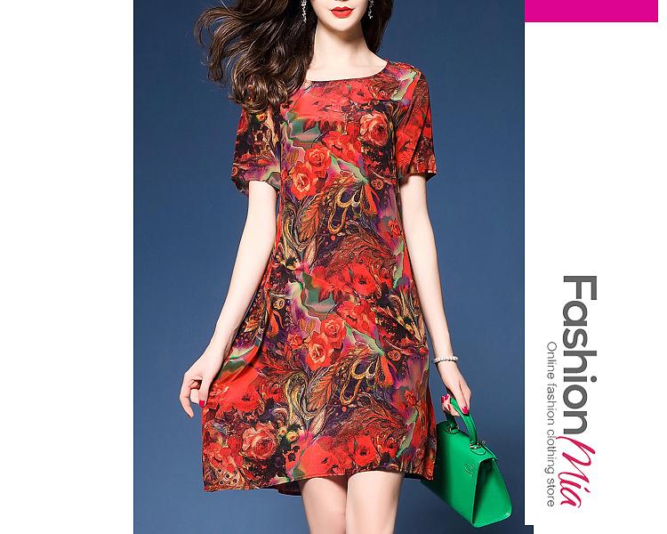 Round Neck  Printed Shift Dress 5E3E5FA71469