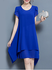Round Neck  Asymmetric Hem Date  Plain Shift Dress