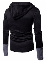 Cowl Neck Drawstring Color Block Men Hoodie