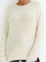 Round Neck  High Stretch  Plain  Long Sleeve Sweaters Pullover