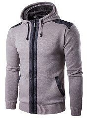 Hooded Patch Pocket Men Coat