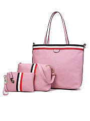 Pink Three Pieces Plain Shoulder Women Bags