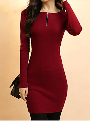 Solid Round Neck Zips Knitted Mini Bodycon Dress
