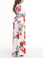 V-Neck  Side Slit  Floral Plus Size Midi & Maxi Dress