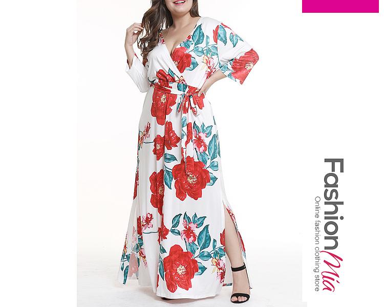 V-Neck  Side Slit  Floral Plus Size Midi  Maxi Dress