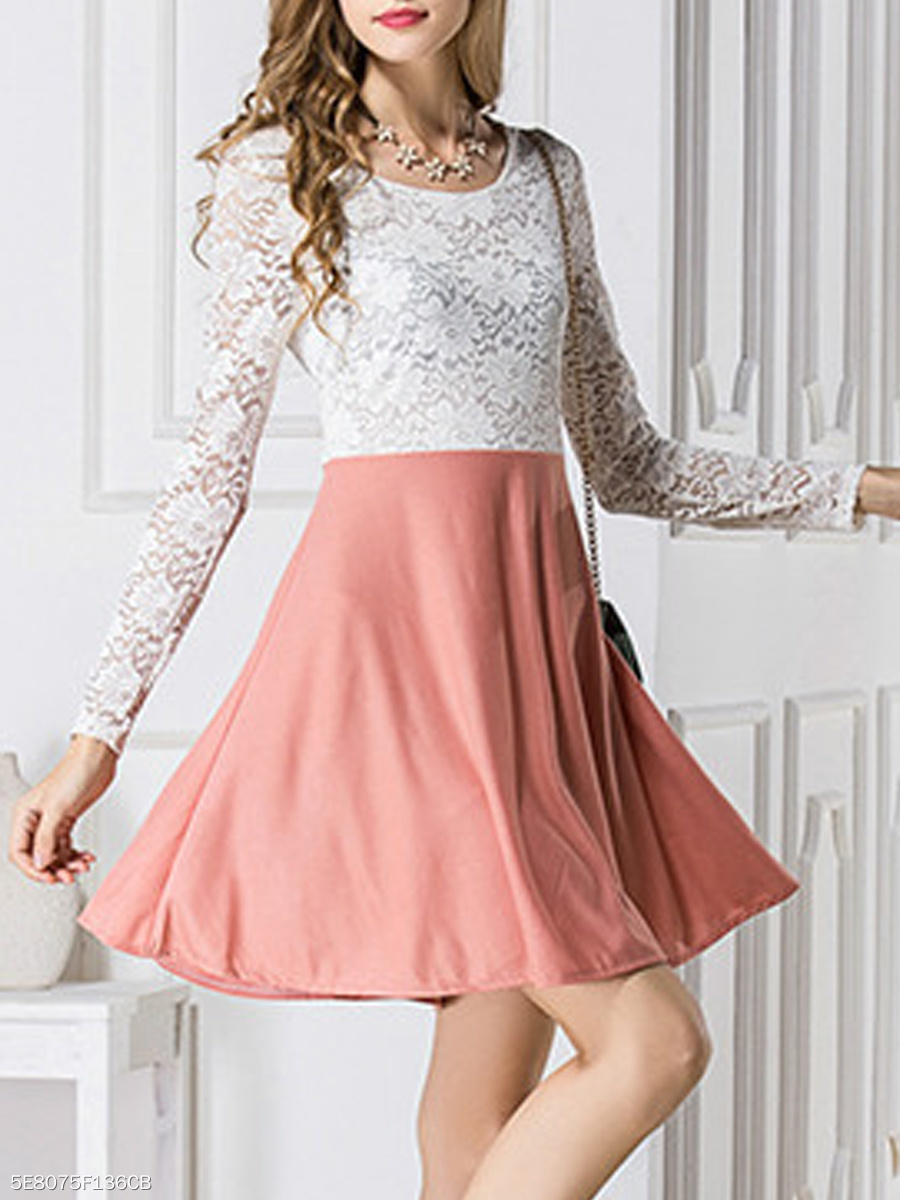 Round Neck  Color Block Lace Skater Dress