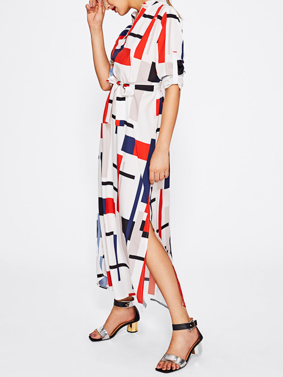 Split Neck  Belt  Printed Maxi Dress