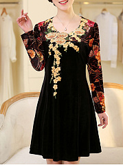 Round Neck Embroidery Floral Velvet Skater Dress