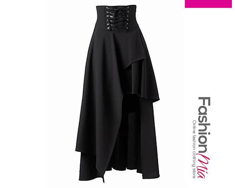 Image of Asymmetric Hem Lace-Up Plain Flared Maxi Skirt